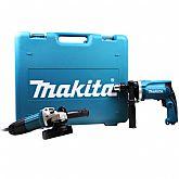 Kit Furadeira de Impacto + Esmerilhadeira Angular 220V com Maleta MAKITA